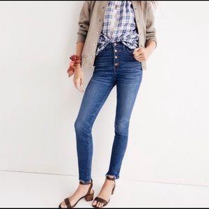 MADEWELL   10 in high rise chewed hem skinny jeans
